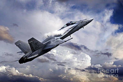 F-18 Digital Art - Super Hornet by J Biggadike