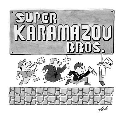 Tom-toro Drawing - Super Karamazov Bros. -- A Parody Of Mario by Tom Toro