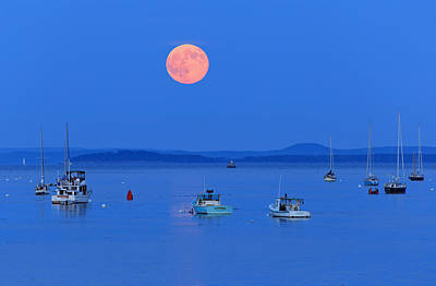 Photograph - Super Moon Belfast Harbor Maine by Barbara West