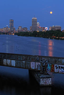 Charles River Photograph - Super Moon Boston by Juergen Roth