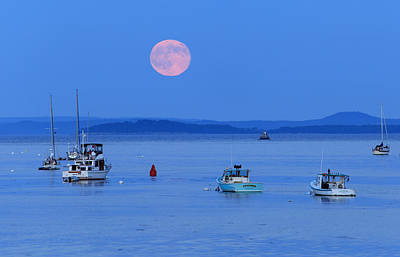 Photograph - Super Moon Hangs Over Belfast Harbor Maine by Barbara West