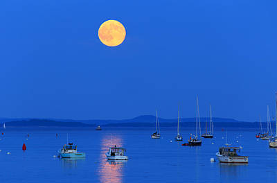 Photograph - Super Moon Over Belfast Harbor Maine by Barbara West