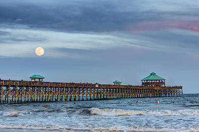 Atlantic Ocean Photograph - Super Moon Over Folly by Walt  Baker
