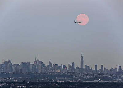 Super Moon Over New York City Original by Eduard Moldoveanu