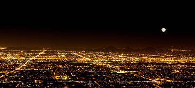 South Mountain Photograph - Super Moon Over Phoenix Arizona  by Susan Schmitz