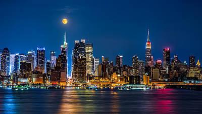 Photograph - Super Moon Rise Above Manhattan by Mihai Andritoiu