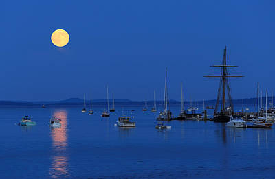 Photograph - Super Moon Rising Above Belfast Harbor Maine by Barbara West