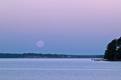 Photograph - Super Moon Setting-1 by Charles Hite