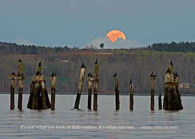 Photograph - Super Moon With Thoreau Quote by Barbara West