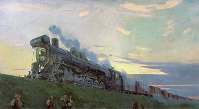 Transportation Painting - Super Power Steam Engine, 1935 by Arkadij Aleksandrovic Rylov