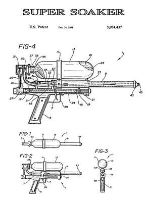 Super Soaker 4 Patent Art 1991 Art Print