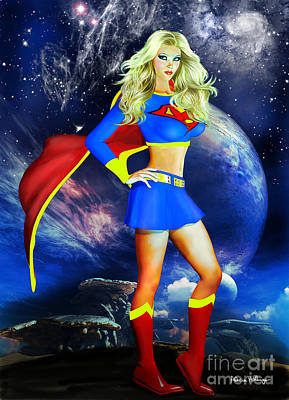 Digital Art - Supergirl by Alicia Hollinger