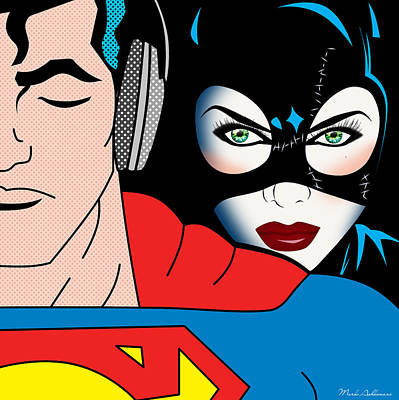 Retro Painting - Superman And Catwoman  by Mark Ashkenazi