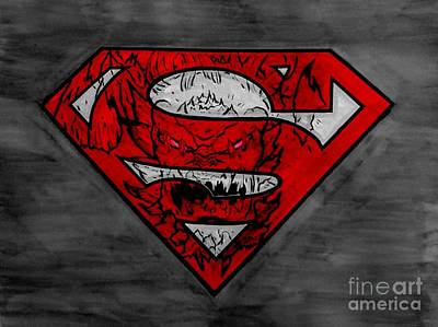 Justin Moore Drawing - Superman And Doomsday R G by Justin Moore