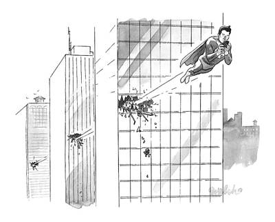 Smart Drawing - Superman Flies Through Several Building by Liam Walsh