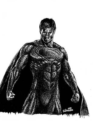 Dc Comics Drawing - Superman Ink Doodle by Kayleigh Semeniuk