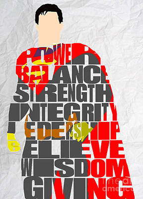 Mixed Media - Superman Inspirational Power And Strength Through Words by Marvin Blaine