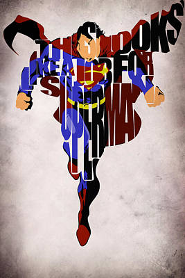 Typographic Digital Art - Superman - Man Of Steel by Inspirowl Design