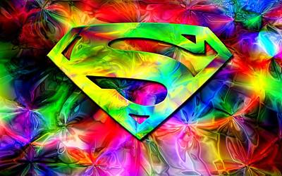 Superman Painted Logo Art Print by Dj Vasilika