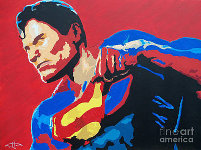 Dc Comics Drawing - Superman - Red Sky by Kelly Hartman