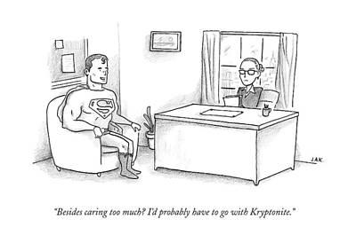 Interview Drawing - Superman Sits At A Job Interview by Jason Adam Katzenstein