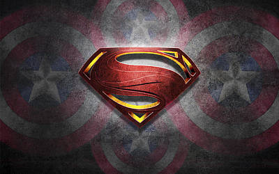 Superman Symbol Digital Artwork Original by Georgeta Blanaru