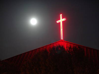Painting - Supermoon And Christian Cross by Eric Beverly