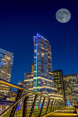 Supermoon Over Downtown Vancouver - By Sabine Edrissi Art Print