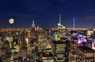 Photograph - Supermoon Over Manhattan by Lee Dos Santos