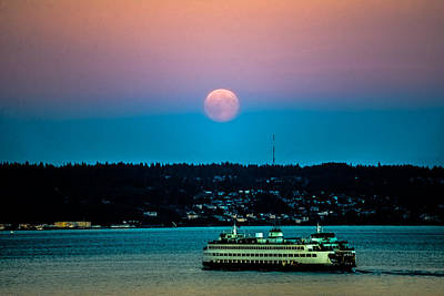 Photograph - Supermoon Rises Over Puget Sound 2 by Ronda Broatch