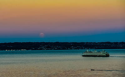 Photograph - Supermoon Rises Over Puget Sound by Ronda Broatch