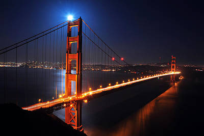 Photograph - Supermoon Shining On Top Of The Golden Gate Bridge by Joel Thai