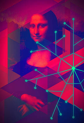Mixed Media - Supernova Mona Lisa by Michelle Dallocchio