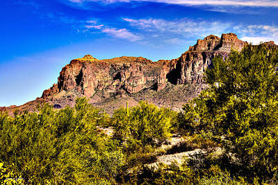 Grandview Digital Art - Superstition Mountain Arizona by Bob and Nadine Johnston