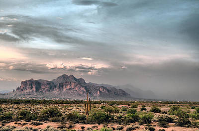 Photograph - Superstition Mountain Dust Storm by Tam Ryan