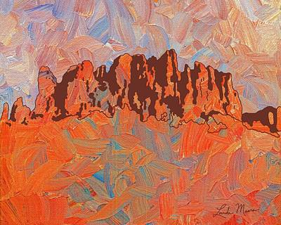 Butte Painting - Superstition Mountains Arizona by Linda Mears