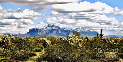 Superstitions With Snow Panorama Art Print by Marilyn Smith
