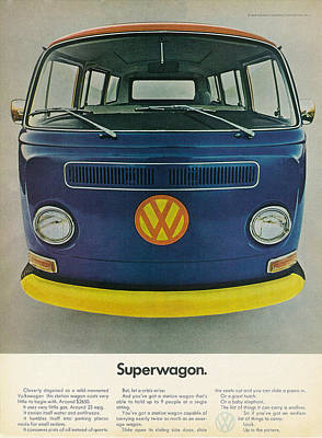 Vw Camper Van Digital Art - Superwagon by Georgia Fowler