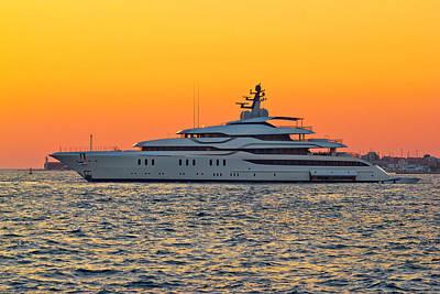 Superyacht On Yellow Sunset View Art Print