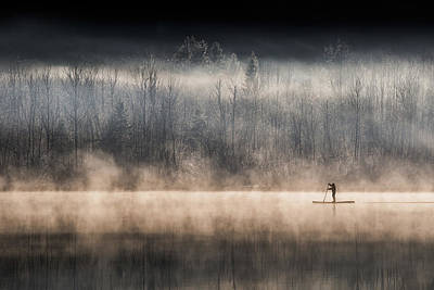 Paddler Wall Art - Photograph - Suping On Bohinj Lake by Miha Pavlin