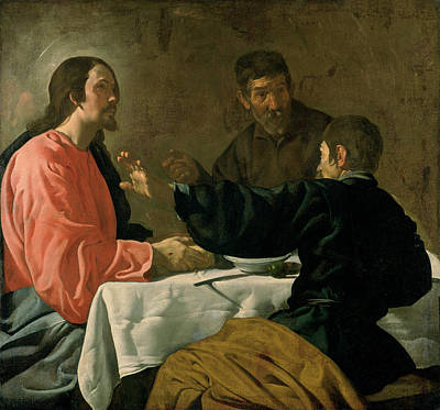 Supper At Emmaus, 1620 Oil On Canvas Art Print by Diego Rodriguez de Silva y Velazquez
