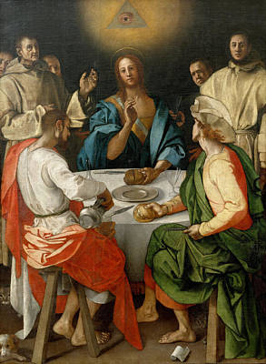 Supper At Emmaus Painting - Supper At Emmaus by Jacopo Pontormo