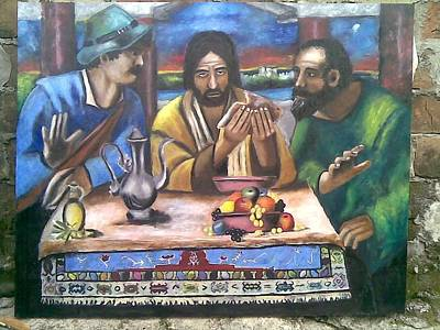 Painting - Supper At Emmaus by Lazar Caran