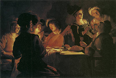 Painting - Supper Party With Lute Player by Gerrit van Honthorst