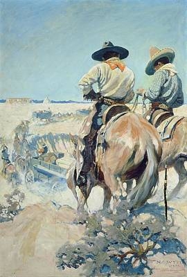 Southwest Desert Painting - Supply Wagons by Newell Convers Wyeth