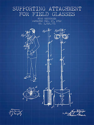 Glass Wall Digital Art - Support For Field Glasses Patent From 1912 - Blueprint by Aged Pixel