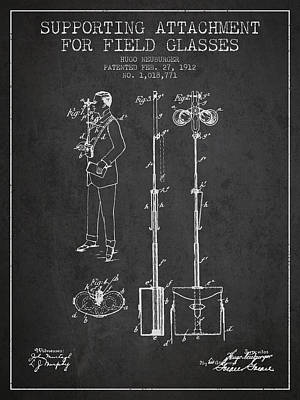 Glass Wall Digital Art - Support For Field Glasses Patent From 1912 - Dark by Aged Pixel