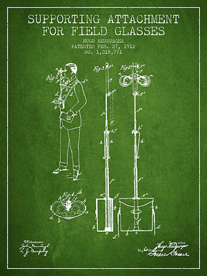 Glass Wall Digital Art - Support For Field Glasses Patent From 1912 - Green by Aged Pixel