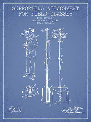 Glass Wall Digital Art - Support For Field Glasses Patent From 1912 - Light Blue by Aged Pixel