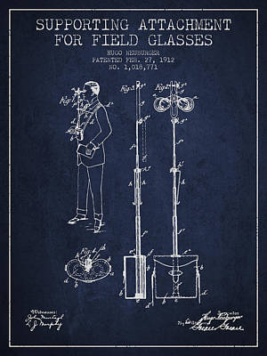 Glass Wall Digital Art - Support For Field Glasses Patent From 1912 - Navy Blue by Aged Pixel